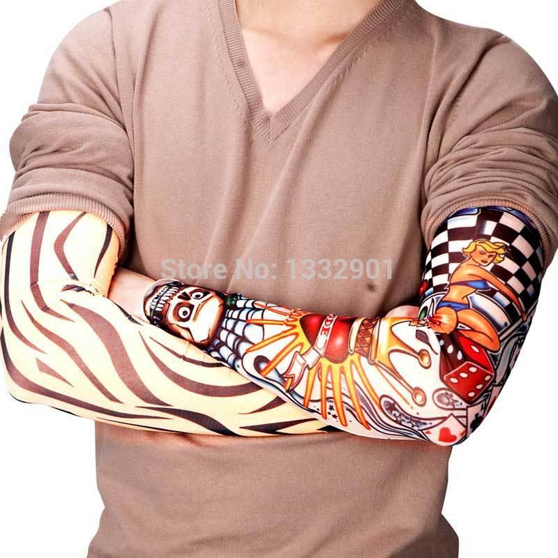 6 X tatuagem falsa TEMPORÁRIA DA LUVA PUNK ROCK Party Design FUN ARM fantasia vestido NOVO(China (Mainland))