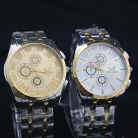 Free shipping Mechanical men's watches waterproof watch Korean fashion college in imitation of three six-pin steel quartz watch
