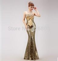 2014 paillette slim hip sexy design long evening dress formal dress get married toast