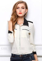 2014 new Summer and Spring hot selling women plus size contrast color shirt long sleeve blouse with good price and Free shipping