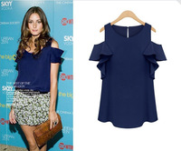 2014 Fashion Trend Sexy Elegant Strapless O-neck Blouse Summer Blouse Ruffle Short Sleeve Sexy Off Shoulder Shirt For Women