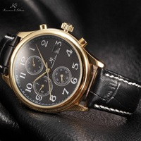 KS IMPERIAL Series Date Month Day Display Men Dress Golden Case Luxury Black Leather Strap Automatic Mechanical Watch / KS157