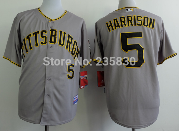 Cheap Pittsburgh Pirates #5 Josh Harrison Authentic Embroidery and stitched onfield Home Cool Base shirt(China (Mainland))