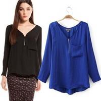 2014 New arrival Ladies Elegant basic office-lady blouses sexy V neck zip shirt long sleeve brand designer tops