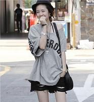 Summer plus size clothing casual loose large size o-neck irregular short-sleeve T-shirt female school wear