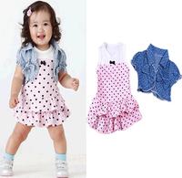2014 Summer Girls Suits Cute Dress+Denim Shawl 2pcs/set Kids Children Dresses Pink/Blue