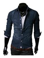 2014 New Cotton Men Denim Long Sleeve Shirt Men Casual Jeans Shirt Slim Fit Men's Clothing