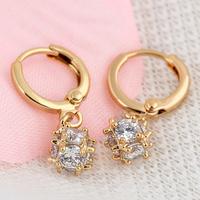 Fashion Women Rhinestone Crystal Beads Balls Dangle Earring 18K Gold Earrings