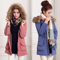 Thickening female with a hood tooling wadded jacket berber fleece medium-long winter overcoat plus size cotton-padded jacket
