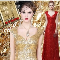 V-neck dress sequins cultivate one's morality show thin engagement party host evening long big yards a toast to the bride