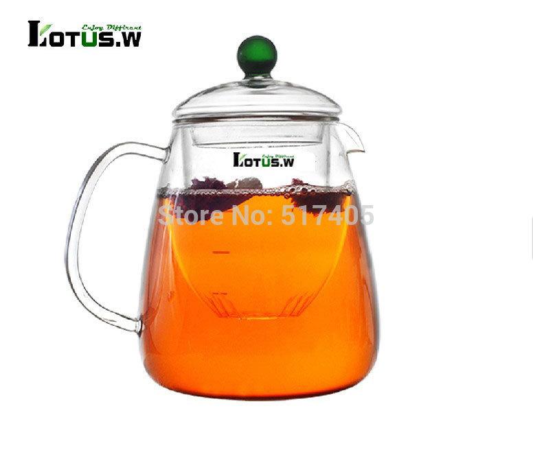Lotus w 1L Large Capacity Multifunction Heat resistant Borosilicate Glass Teapot Kettle Tea Cup Set