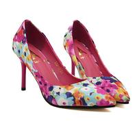 2014 new arrival fashion watercolour print sexy women pumps,candy color 9.5cm thin heel high shoe for women drop shipping XWD805