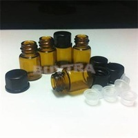 12pcs x 2ml Amber Glass Bottles/Black Foam Lined Screw Cap And Orifice Multi-purpose Glass Crafts