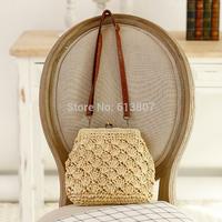 Free shipping lovely shell shape one shoulder braid worn straw bag female beach bag restoring ancient ways