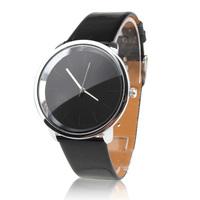 Women's Fashionable Simple Dial Black PU Band Quartz Analog Wrist Watch