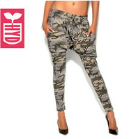 Drop ship!New 2014 brand autumn vogue elastic waist harem pants womens Military style camouflage Pencil trousers