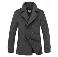 2014 men's new men's woolen coat long woolen coat wool coat lapel Slim double-breasted jacket shipping Men