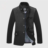 2014 new winter jacket men's wool coat collar and long sections woolen coat jacket coat male shipping