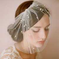 Wedding Supplies 2014 New Soft Mesh Lace Short Wedding Veil Beaded Bridal Veil Wedding Accessories