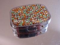 2014 Hot Free shipping(50pcs/lot) Wholesale Fashion Mixed color Square jewelry pill box cute pill case