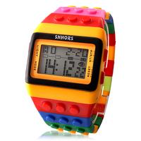 Unisex Colorful Block Brick Style Digital Wrist Watch
