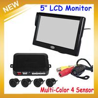 "2014 Auto Car Parking Sensor 5"" Digital Color 16:9 Tft Reverse Monitor 2 Bracket Holder +4 X Backup Sensors+1 Rearview Camera"