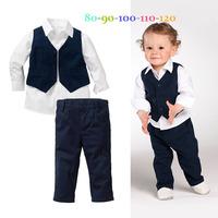 2014 New autumn children's boy clothing set cotton vest + T-shirt + pants kids suits kids set free shipping