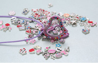 25mm 5pcs lovely heart shape grass Silver floating locket charms with mix color around it fit diy accessory.