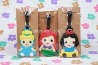 6PCS  Princess Ariel/Snow White/Belle/ Cinderella/Aurora/Jasmine luggage tags/  Travel Name Tag