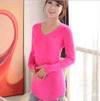 Free Shipping Slim V-neck Long T-shirt Fashion Trendy Modal Women Cotton Clothes Tops Tees T-shirt Bottoming shirt