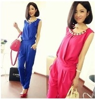 Chiffon set female summer fashion plus size clothing chiffon one-piece bodysuit long trousers thin