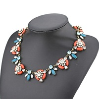2014 new design high fashion ZA brand jewelry necklace for women resin stone glass crystal statement necklace