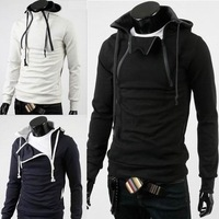 2014 Autumn Men's Fashion Double Zipper Hooded Brushed Hoody Men New Jacket Coat