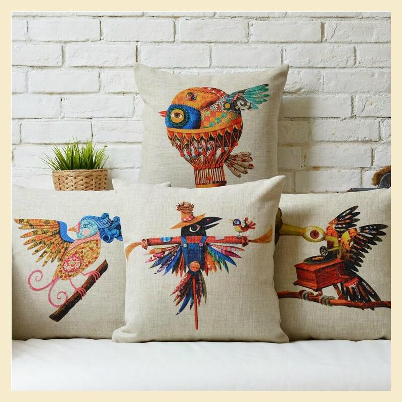 Estranho Almofada Algodão Padrão Tampas criativas fronhas 45x45cm Casos Nice Home Pillow Decoração Música Pássaro Travesseiro B7625(China (Mainland))