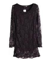Fashion Sexy Lady Black Lace Long Sleeve Party Cocktail Dresses With Pearls S-XXXL