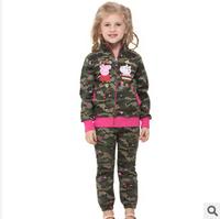 2014 new autunm girls cartoon pig coat kids cotton long sleeve embroidery camouflage coat girls princess cloth