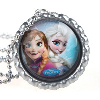 Frozen  Party Favors Necklace Elsa and Anna Bottle Cap Necklace Ball Chain Necklace 20pcs