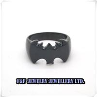New Mens Biker Black Tone 316L  Stainless Steel Batman Cool Bike Ring,Free shipping,R#76