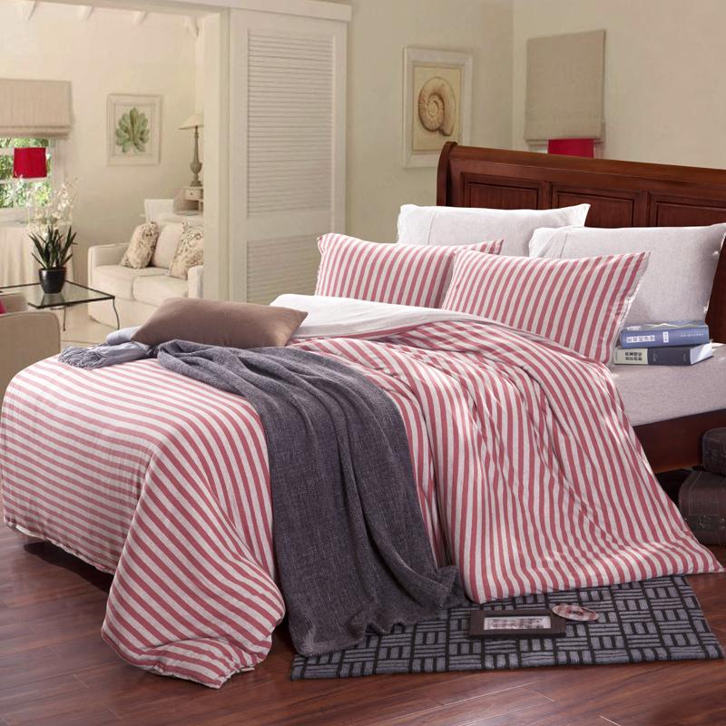 Hot sale da marca malha conjunto de cama 100% algodão comforter cover set com rosa listrado capa de colchão 1.5 - 1.8 m cama(China (Mainland))