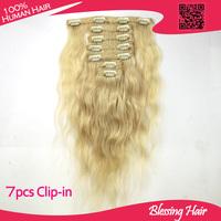 Virgin Remy Hair Clip In Human Hair Extensions 7 pieces/set 7 Colors in Stock,100% Human Hair,Cheap Indian Virgin Hair