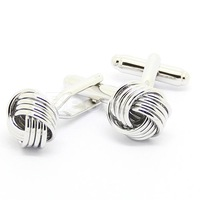 Hot Sale Four Thin Silver Knot Cufflinks
