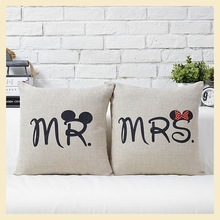 "1 pcs ""Mr and Mrs"" Romatic Pliiow Cases 45x45cm Cotton Cushion Covers Simple Home Pillow Decoration Best Wedding Gifts B7635(China (Mainland))"