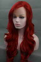 Red Long Wavy Lace Front Wig Free shipping