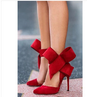 2014 Popular Spring Summer Booties Woman Ankle Strap Motorcycle Boots Big Bowtie Suede High  Heels Sandals Women Pumps
