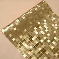 Gold Silver stereo waterproof plaid wallpaper mosaic bathroom kitchen counter pillars backdrop wallpaper