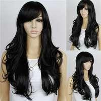 Free Shipping New Stylish 60cm Fashion Women Long Wavy Curly Black Synthetic Kanekalon Hair Wig