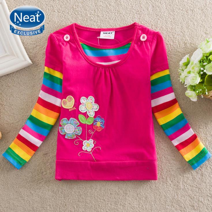 5pcs/lot pulito 100% cotone 2014 nuovo lungo- maniche lunghe t camicie splendidamente fiori ricamati bambini bambino ragazza maglietta a manica lunga f3900