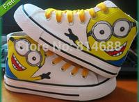 Cartoon Despicable Me Minions Pattern Joker Canvas Kids Children Sneakers Sneaker High Hand-painted Shoes Parent-child Shoes
