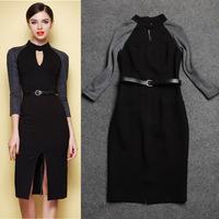 victoria beckham dress 2014 new European and American women Beckhams big sexy black patechwork dress slit dress was thin dress
