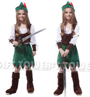 M~XL!! New Pretty Peter Pan Princess Hallowean Party Costume Girl Army Green Long-sleeve Dresses Children Cosplay Kids Costumes